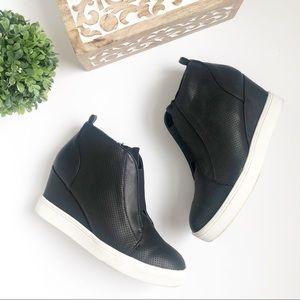 Mia Cristie Black Wedge Sneakers